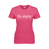 Ladies Fuchsia T Shirt-Curly Script Tri Sigma