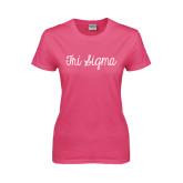 Ladies Fuchsia T Shirt-Curly Script Tri Sigma