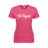 Ladies Fuchsia T Shirt-Ink Script Tri Sigma
