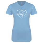 Ladies SoftStyle Junior Fitted Light Blue Tee-Big in Heart
