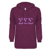 ENZA Ladies Berry V Notch Raw Edge Fleece Hoodie-Greek Letters - One Color