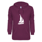 ENZA Ladies Berry V Notch Raw Edge Fleece Hoodie-Sailboat