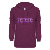 ENZA Ladies Berry V Notch Raw Edge Fleece Hoodie-Greek Style Letters