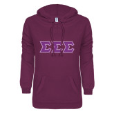 ENZA Ladies Berry V Notch Raw Edge Fleece Hoodie-Greek Style Letters - Polka Dot