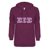 ENZA Ladies Berry V Notch Raw Edge Fleece Hoodie-Greek Style Letters - Chevron
