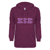 ENZA Ladies Berry V Notch Raw Edge Fleece Hoodie-Greek Style Letters - Lace