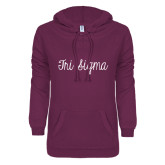 ENZA Ladies Berry V Notch Raw Edge Fleece Hoodie-Curly Script Tri Sigma