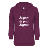 ENZA Ladies Berry V Notch Raw Edge Fleece Hoodie-Scripted Sigma Sigma Sigma Stacked