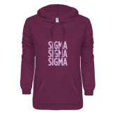 ENZA Ladies Berry V Notch Raw Edge Fleece Hoodie-Sigma Sigma Sigma Stacked