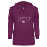 ENZA Ladies Berry V Notch Raw Edge Fleece Hoodie-Block Letters w/ Pattern Little