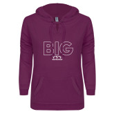 ENZA Ladies Berry V Notch Raw Edge Fleece Hoodie-Block Letters w/ Pattern Big