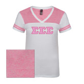 Ladies White/Bright Pink Juniors Varsity V Neck Tee-Greek Style Letters