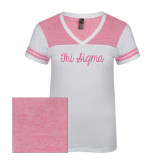 Ladies White/Bright Pink Juniors Varsity V Neck Tee-Curly Script Tri Sigma