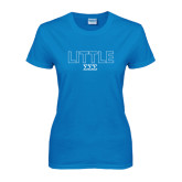 Ladies Sapphire T Shirt-Block Letters w/ Pattern Little