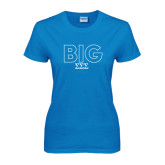 Ladies Sapphire T Shirt-Block Letters w/ Pattern Big