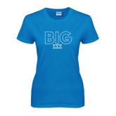 Ladies Sapphire T Shirt-Block Letters w/ Pattern Big