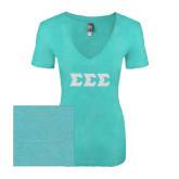 Next Level Ladies Vintage Tahiti Blue Tri Blend V Neck Tee-Glitter Greek Style Letters