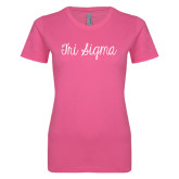 Ladies SoftStyle Junior Fitted Fuchsia Tee-Curly Script Tri Sigma