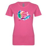 Ladies SoftStyle Junior Fitted Fuchsia Tee-Watercolr Splash