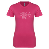Ladies SoftStyle Junior Fitted Fuchsia Tee-Block Letters w/ Pattern Big