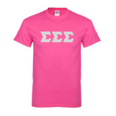 Hot Pink T Shirt-Glitter Greek Style Letters