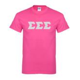 Hot Pink T Shirt-Glitter Greek Style Letters