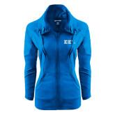 Ladies Sport Wick Stretch Full Zip Sapphire Jacket-Glitter Greek Style Letters