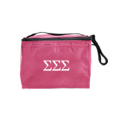 Six Pack Pink Cooler-Greek Letters - One Color
