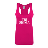 Next Level Ladies Raspberry Ideal Racerback Tank-Tri Sigma Stacked - Official