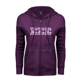 ENZA Ladies Purple Fleece Full Zip Hoodie-Greek Style Letters - Tri Sigma Pattern