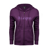 ENZA Ladies Purple Fleece Full Zip Hoodie-Curly Script Tri Sigma