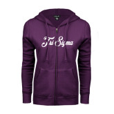 ENZA Ladies Purple Fleece Full Zip Hoodie-Fancy Script Tri Sigma