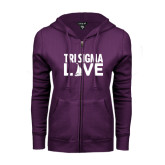 ENZA Ladies Purple Fleece Full Zip Hoodie-Tri Sigma Love