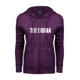 ENZA Ladies Purple Fleece Full Zip Hoodie-Tri Sigma Flat