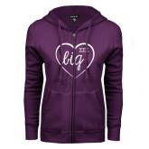 ENZA Ladies Purple Fleece Full Zip Hoodie-Big in Heart