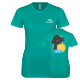 Next Level Ladies SoftStyle Junior Fitted Tahiti Blue Tee-Tri Sigma Stacked - Official