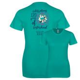 Next Level Ladies SoftStyle Junior Fitted Tahiti Blue Tee-120 Years of Sisterhood