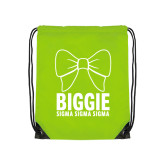Lime Green Drawstring Backpack-Biggie Bow