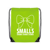 Lime Green Drawstring Backpack-Smalls Bow