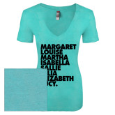 Next Level Ladies Vintage Tahiti Blue Tri Blend V Neck Tee-Founders List