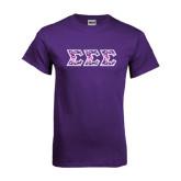 Purple T Shirt-Greek Style Letters - Tri Sigma Pattern
