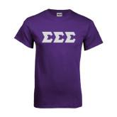 Purple T Shirt-Glitter Greek Style Letters