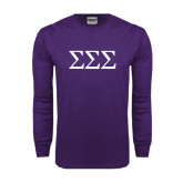 Purple Long Sleeve T Shirt-Greek Letters - One Color