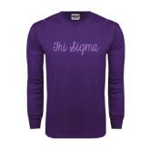 Purple Long Sleeve T Shirt-Curly Script Tri Sigma