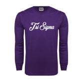 Purple Long Sleeve T Shirt-Fancy Script Tri Sigma
