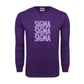 Purple Long Sleeve T Shirt-Sigma Sigma Sigma Stacked