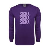 Purple Long Sleeve T Shirt-Sigma Sigma Sigma Stacked