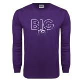 Purple Long Sleeve T Shirt-Block Letters w/ Pattern Big