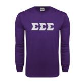 Purple Long Sleeve T Shirt-Glitter Greek Style Letters