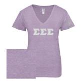 ENZA Ladies Violet Melange V Neck Tee-Glitter Greek Style Letters